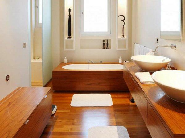 Los muebles de ba o modernos de madera que ver s en los for Banos modernos madera